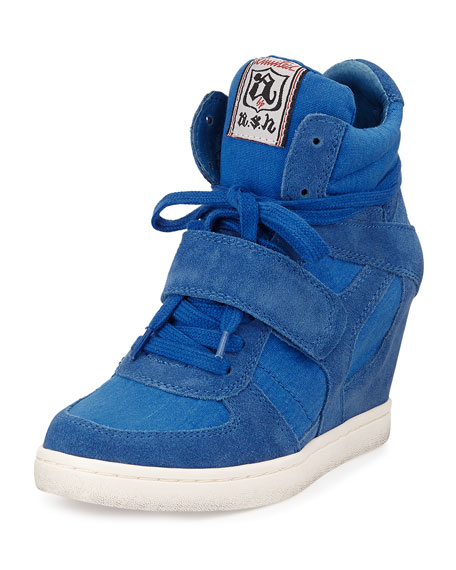 Suede & Canvas Wedge Sneaker, Royal