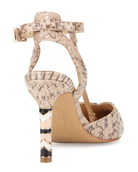 Cherish Snakeskin T-Strap Pump, Natural