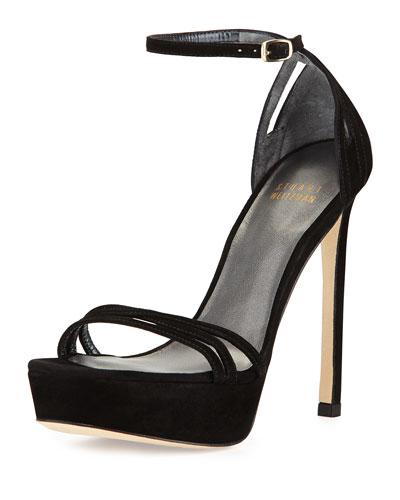 Whichway Suede Platform Sandal, Black