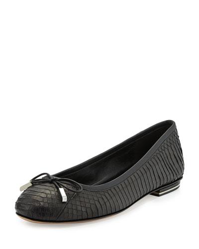 Odette Snake Ballet Flat, Black