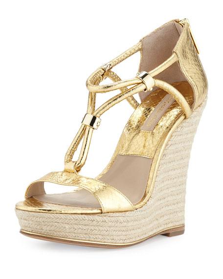 Sherie Metallic Snake Wedge Sandal, Gold