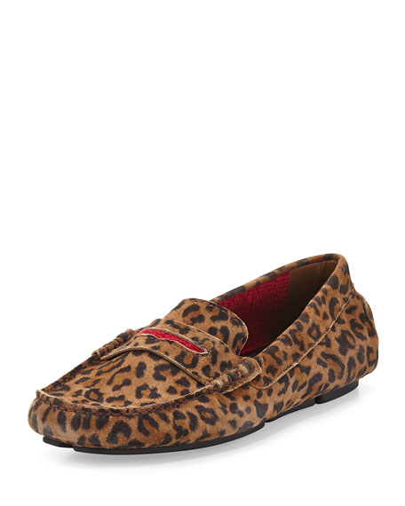 Manolo Blahnik Terry-Trimmed Suede Driver, Leopard/Red