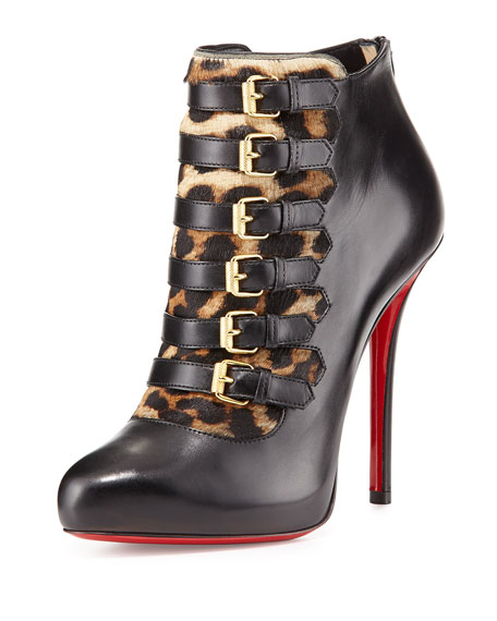 Leopard-Print Buckled Red Sole Bootie, Black