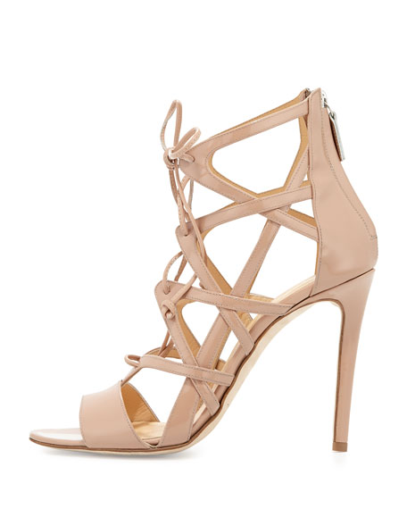 Patent Lace-Up Strappy Sandal, Tan