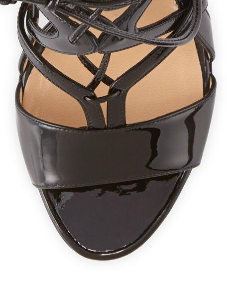Patent Lace-Up Strappy Sandal, Black