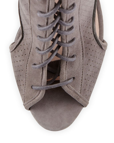 Marci Suede Lace-Up Bootie, Gray