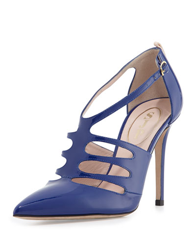 Denise Patent T-Strap Pump, Blue