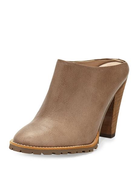 Delman Exude Leather Mule Slide, Putty