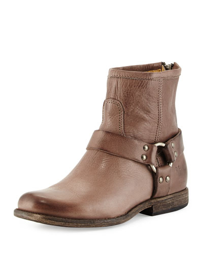 Phillipe Harness Leather Boot, Gray