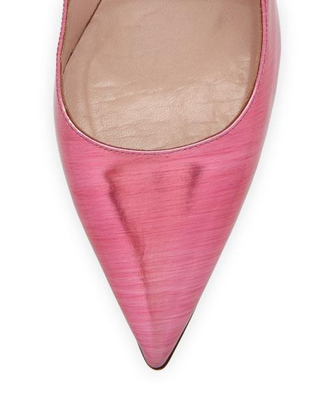 Fawn Metallic Point-Toe Pump, Glass Pink