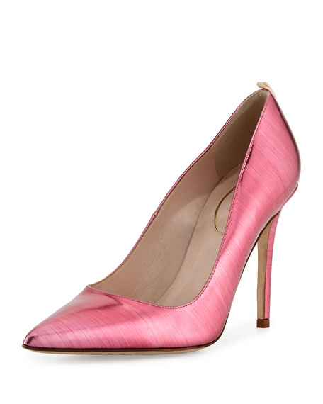 Fawn Metallic Point-Toe Pump, Glass Pink