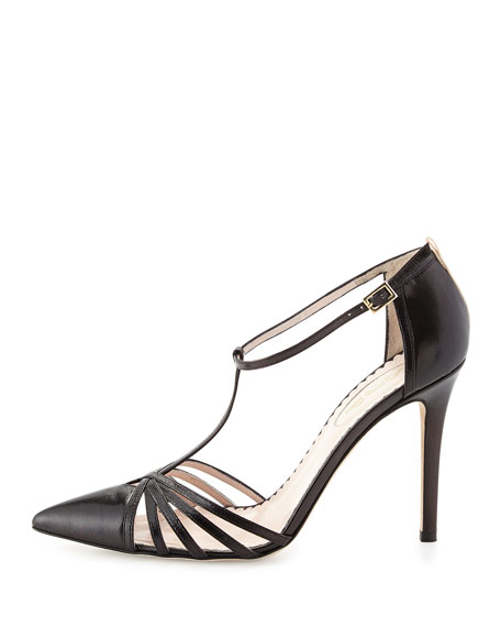 Carrie Leather T-Strap Pump, Black