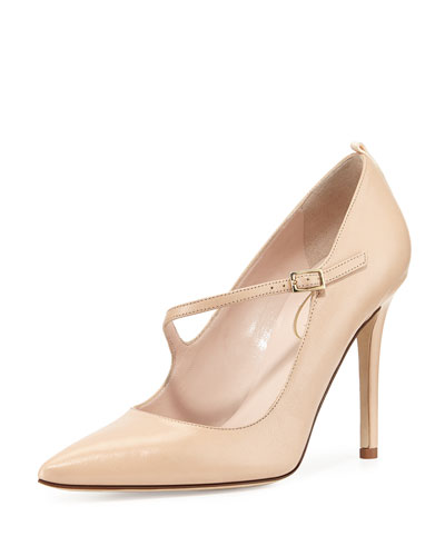 Diana Asymmetric Leather Pump, Nude