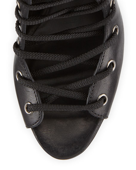 Alison Leather Lace-Up Open-Toe Boot, Black