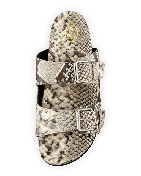 Takoon Snake-Embossed Leather Sandal, Roccia