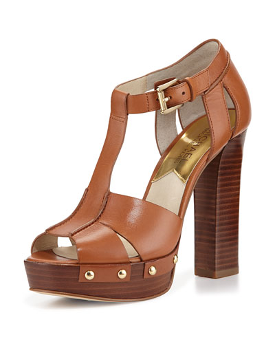 Beatrice Leather Platform Sandal, Luggage