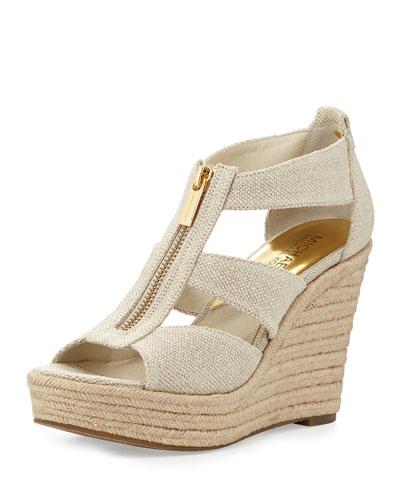 Damita Zip-Front Wedge Sandal