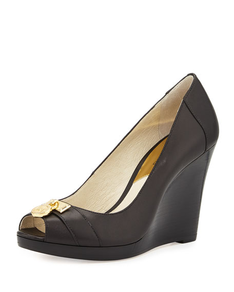 MICHAEL Michael Kors Hamilton Leather Wedge Pump, Black