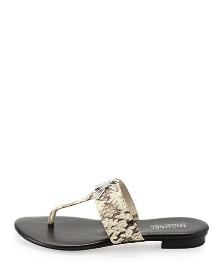 083516157129 MICHAEL Michael Kors Hayley MK Snake-Print Thong Sandal