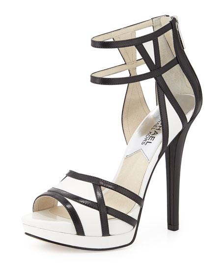 Jaida Back-Zip Platform Sandal, Black/Optic White
