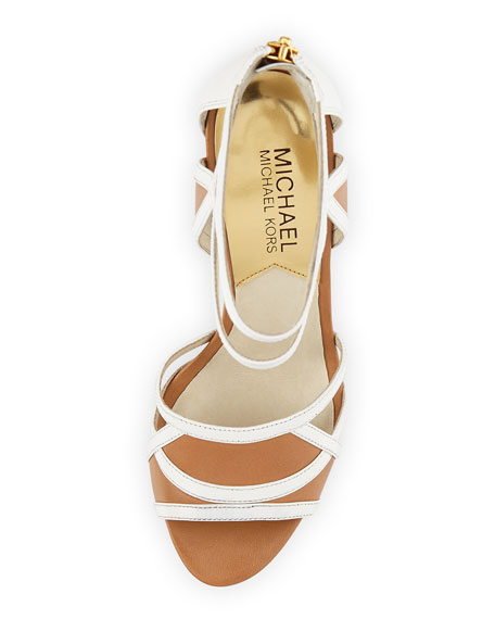 Jaida Back-Zip Platform Sandal, Optic White/Suntan