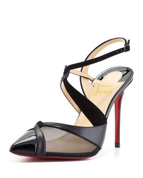 Evoluta Asymmetric Slingback Red Sole Pump, Black