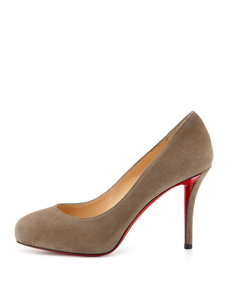 Velour Platform Red Sole Pump, Gray