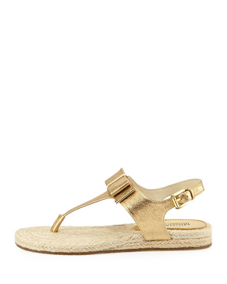 Meg Leather Bow Thong Sandal, Pale Gold