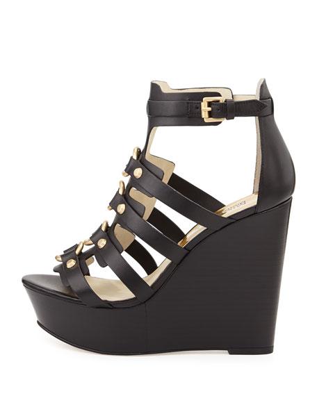 Nadine Studded Gladiator Wedge, Black