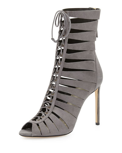 Francesco Russo Suede Lace-Up Ladder Bootie