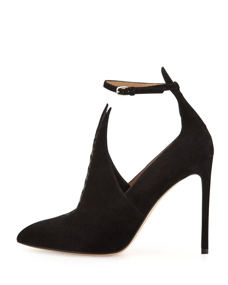 Pointed Suede Bootie with Ankle Strap