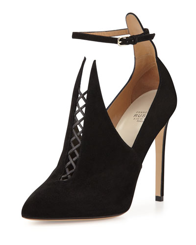 Francesco Russo Pointed Suede Bootie with Ankle Strap