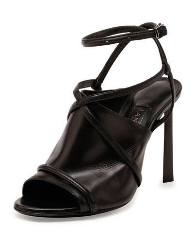 Lanvin Leather Crisscross Glove Sandal, Black