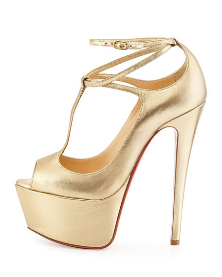 Talitha Platform Red Sole Pump, Gold