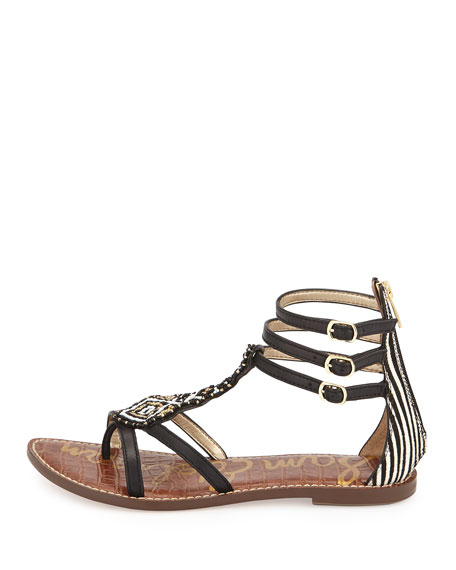 Giselle Beaded Gladiator Sandal, Black/Ivory