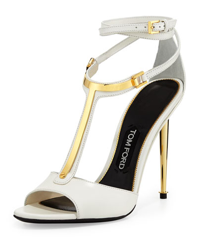 Tom Ford Leather T-Bar Ankle-Wrap Sandal, Chalk