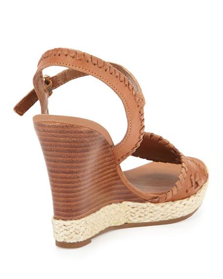 Clare Rope Wedge Sandal, Cognac