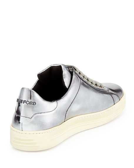 Mirrored Leather Low-Top Sneaker