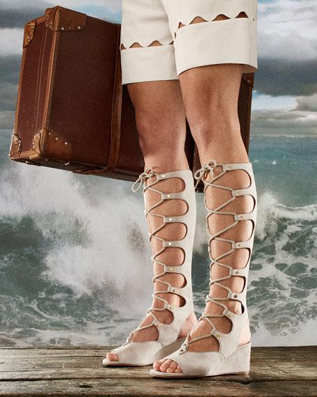 Chloe Suede Gladiator Tall Wedge Sandal, Cream Puff | Neiman Marcus