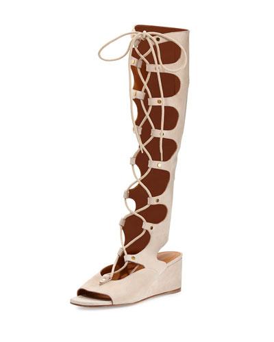 Chloe Suede Gladiator Tall Wedge Sandal, Cream Puff