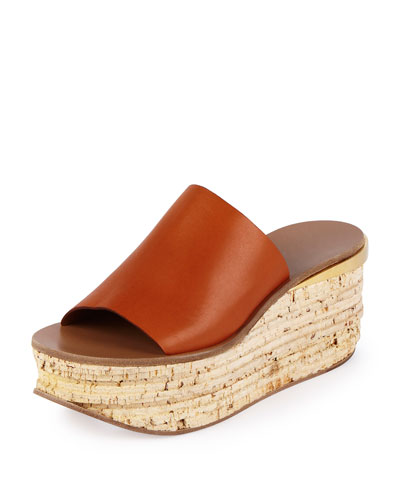 Chloe Leather Cork Wedge Slide, Sienna Rust