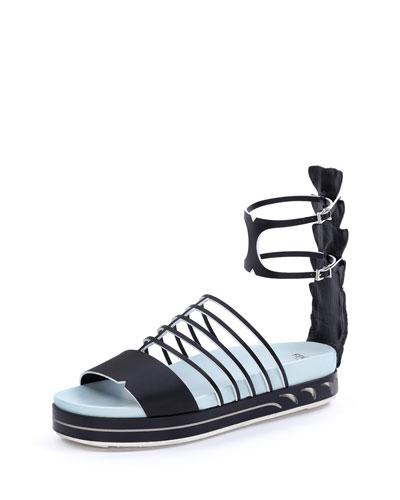 Fendi Leather Flat Cage Sandal, Black