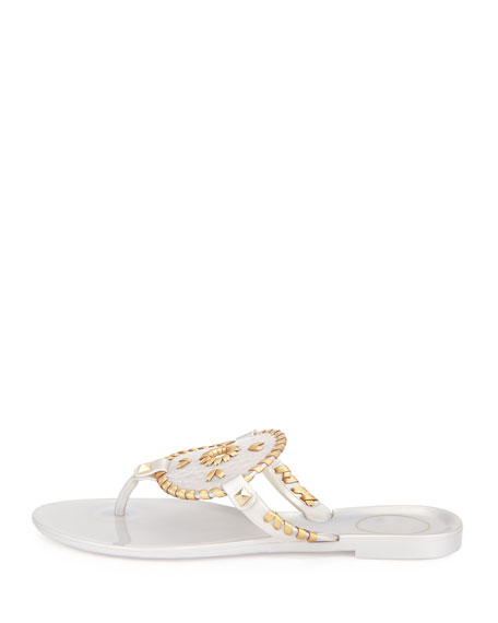Georgica Jelly Thong Sandal, Silver/Gold