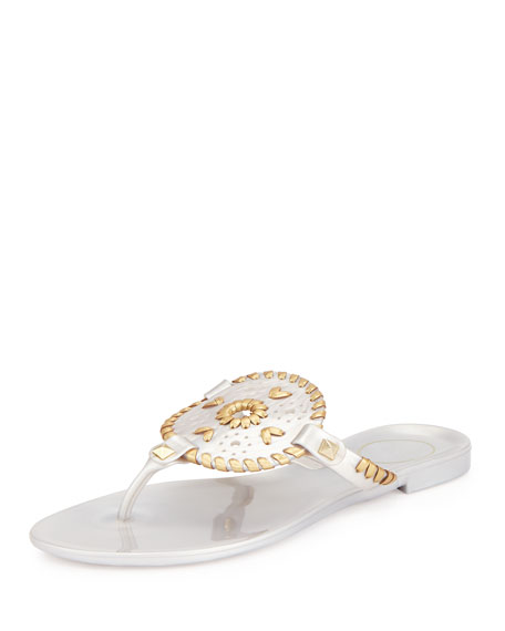 Jack Rogers Georgica Jelly Thong Sandal, Silver/Gold
