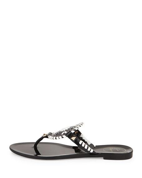 Georgica Jelly Thong Sandal, Black/White