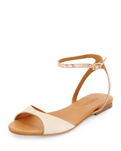 Candice Metallic Ankle-Strap Sandal, Nude/Ivory/Rose Gold