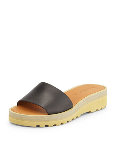 Robin Micro Sole Sandal Slide, Black