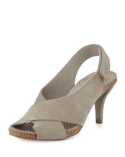 Mel Crisscross Low-Heel Suede Sandal