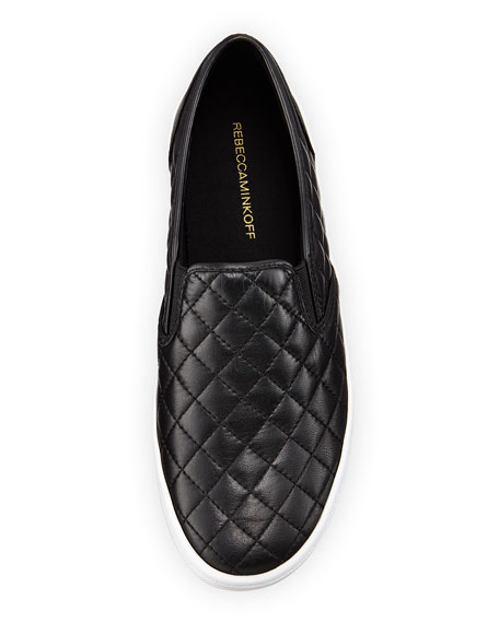 Sal Leather Quilted Skate Sneaker, Black