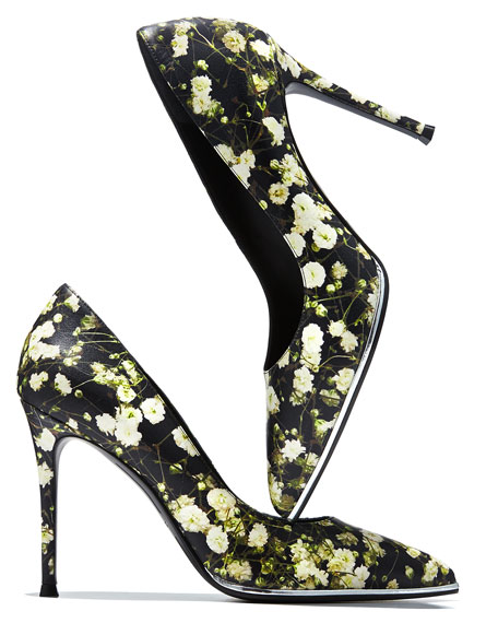 Image 2 of 4: Floral-Print Leather Pump, Baby's Breath